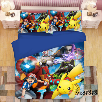 Mxdfafa Anime Pokemon Bed Sack Set 3D Bedding Bag Luxury Duvet Cover Set 3pcs Sets Include 1 Duvet Cover and 2 Pillowcase