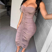 NewAsia robe de soirée froncée Sexy, vêtement dété femme, épaules dénudées, longue moulante, à la mode, Slim et élégante, 2019