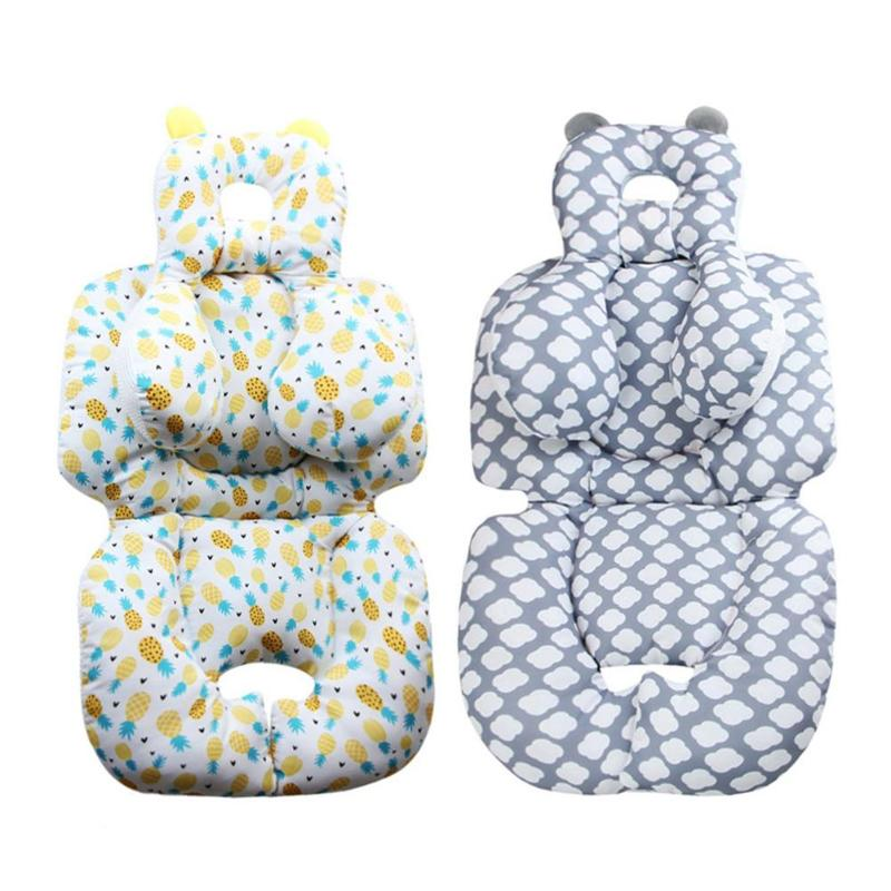 Stroller Cushion Pineapple&Cloud Printed Carriage Baby Soft Seat Pad Cover Infant Pram Head Neck Protect Cotton Mat Accessory