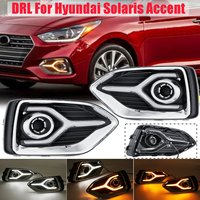 Pair Daytime Running Light For Hyundai Solaris Accent 2017 2018 2019 LED DRL White Yellow Light With Turn Signal Lamp