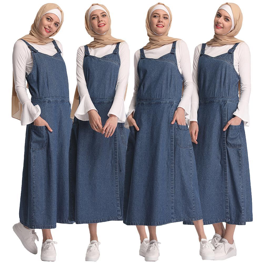 US $31.64 40% OFF|Muslim Abaya Denim Overall Dress 2019 Summer Straps  Sleeveless Ripped Clothing Women Plus Size Casual Denim Maxi Dress  Fashion-in ...