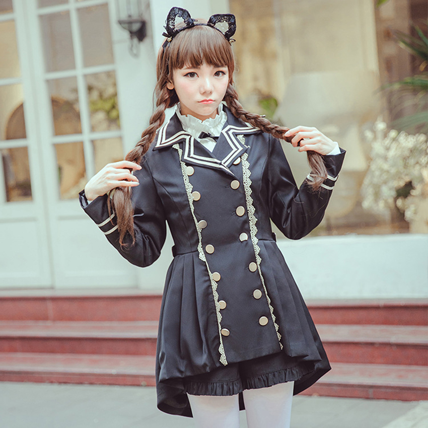 2019New Lolita Military Uniform Fashion Dress for Women School Uniform Bow-knot Jacket Japanese Kawaii Girl Maid Vintage Gothic