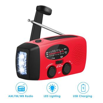 Multifunctional Solar Hand Crank Dynamo Self Powered AM/FM/NOAA Weather Radio Use As Emergency LED Flashlight and Power Bank 6