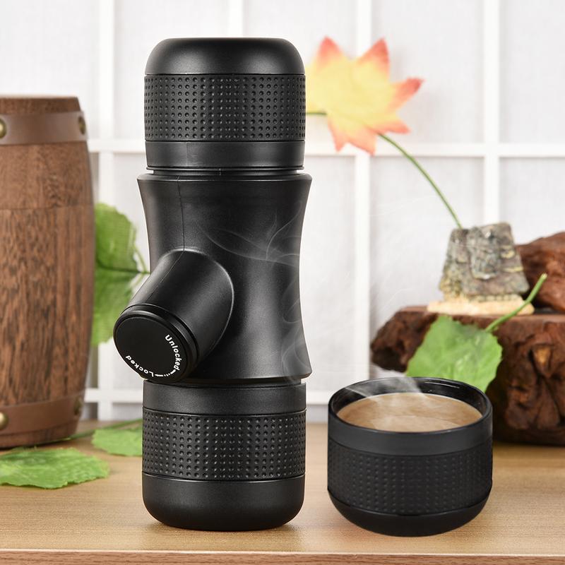 Mini Machine à café manuelle compacte portative de cafetière noire de Machine à café pour la conception extérieure de voyage à la maison