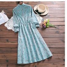 Spring Autumn Women Elegant Vintage Stand Collar Long Sleeve Printed Dress Casual Corduroy Party Dresses Vestidos