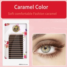 BRILLANT Double Tip Vent The Wind Action Caramel Color Flat Grafting Brown False Eyelashes Single Root Soft Beauty Salon Eyelash