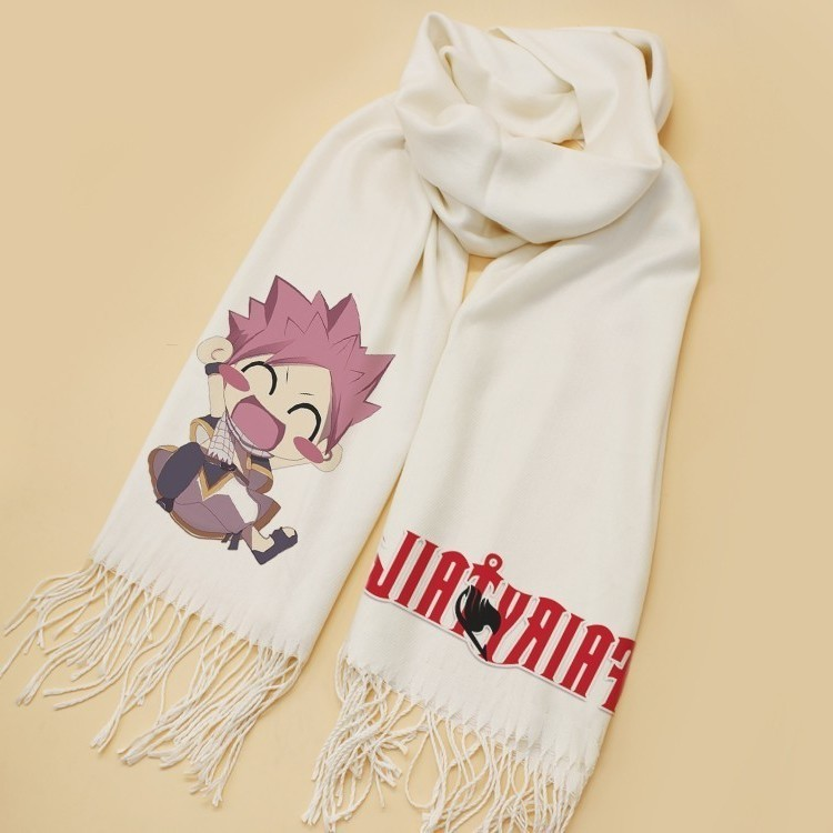 Anime Fairy Tail Cute Natsu Dragneel Scarf Cosplay Soft White Warm Cute Winter Scarf Shawl Fashion New CHRISTMAS Gifts
