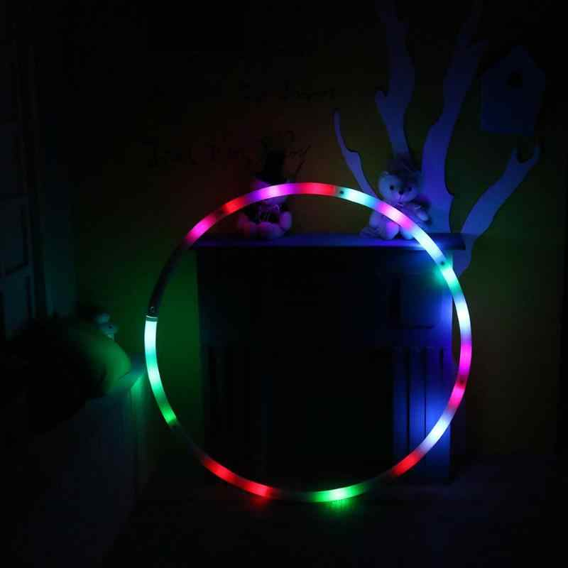 1 pcs Adjustable Fitness Circle Colorful Gym circle hoop for bodybuilding Changing Light LED Rechargable Loose Weight Toy