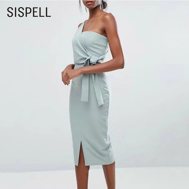 6d6eba715a8 SISPELL Party Bodycon Dresses Sexy Sleeveless One-Shoulder Lace Up Slim  Summer Midi Dress Female Split Solid Top Elegent New