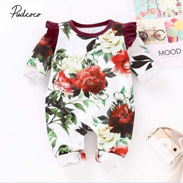 9090fea11 2019 Brand Newborn Infant Baby Girl Flower Romper Jumpsuit Casual Spring  Autumn New Bebe Playsuit Outfit Clothes 0-24M