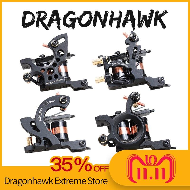 4 pcs Professional Tattoo Machines Dragonhawk Fine Lining Shading Tattoo Gun Coloring Lining 10 Wraps Tattoo Machines handmade tattoo machines