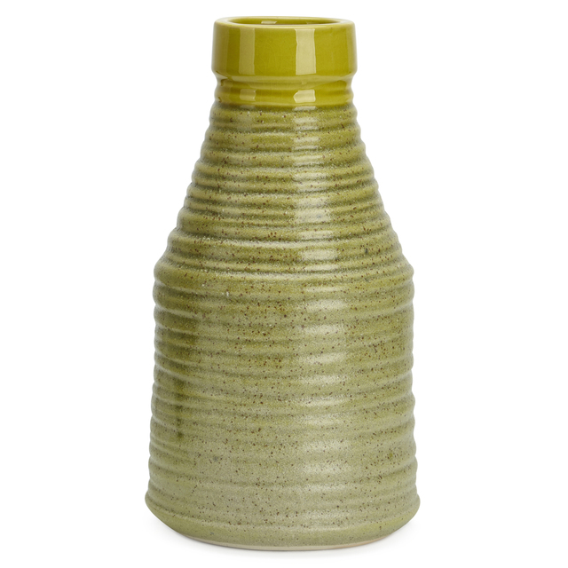 Elegantly Trimmed Ceramic Large Ribbed Vase, Green