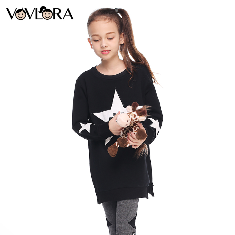 Sweatshirt kids clothes autumn 2017 long knitted sweatshirts tops for baby girls O-neck pattern star cotton red&black size 9-14Y цена 2017