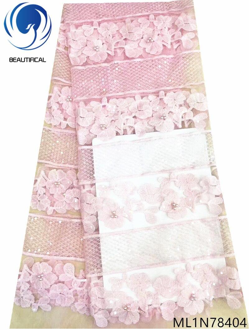 Beau mariée française dentelle tissus dernier style net dentelle avec perles broderie dentelle paillettes tissu pour mariage ML1N784