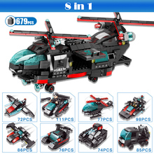 8 in 1 City Police Series Building Block Bricks SWAT Helicopter Toys Car Tank Aircraft DIY Educational Toys Compatible Legoings enlighten city series police swat car building block sets kids educational bricks toys compatible with legoe