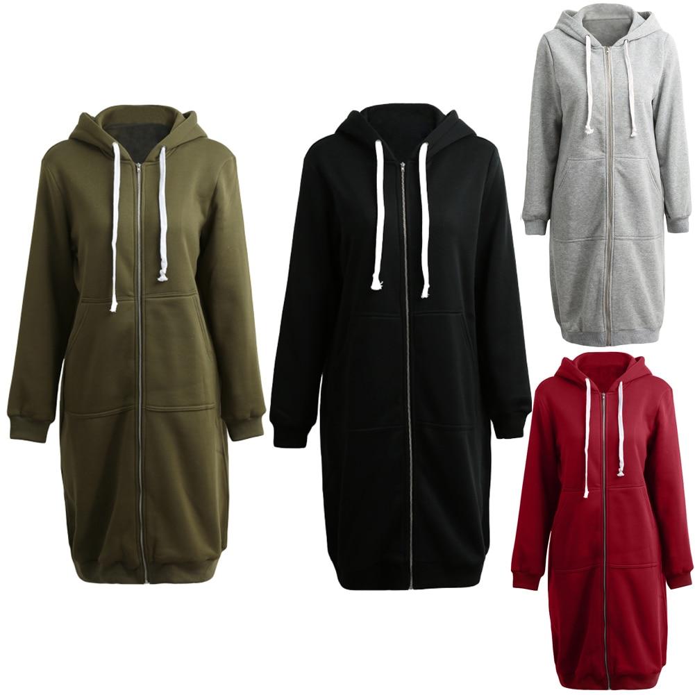 db56d79a Oversized Hoodies Long Sweatshirt Women Casual Coat Hooded Jacket 2019  Spring Top Pockets Zip Up Outerwear Plus Size 3XL 4XL 5XL-in Hoodies &  Sweatshirts ...