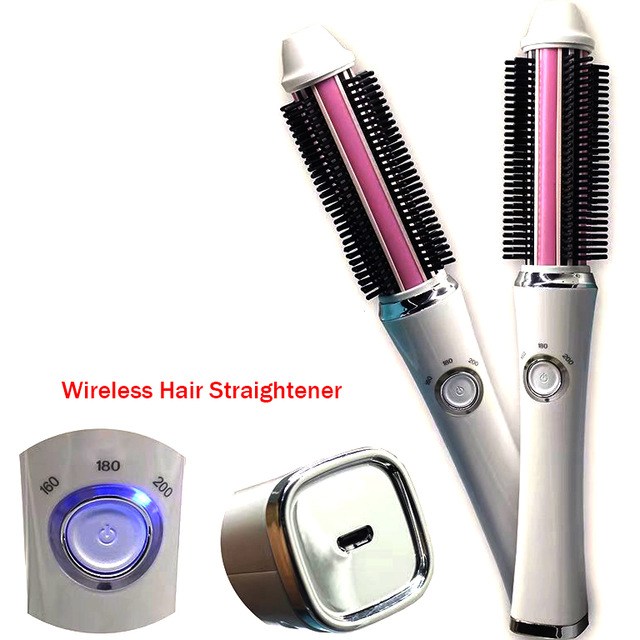 Portable Usb Wireless Mini Hair Curler 2 In 1 Straightener Brush Battery Electrical Curling Brushes Straightening Comb in Curling Irons from Home Appliances