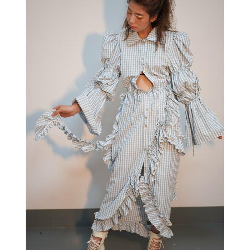 SuperAen nuevo 2019 primavera moda mujer vestido de algodón asimétrico salvaje de manga larga Vestido Mujer Casual Clohing-in Vestidos from Ropa de mujer    2