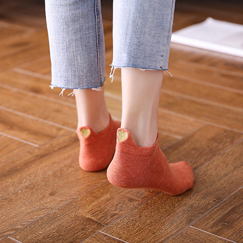 Women  Cotton  Love  Boat Socks  Smile Face  Girl  Fashion New Product  Heel Embroidery  Boat Socks  Summer  Japanese