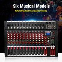 48 в аудио Миксер с USB Профессиональный 12 канальный bluetooth Студия DJ микшерный пульт усилитель для караоке цифровой KTV звуковой миксер