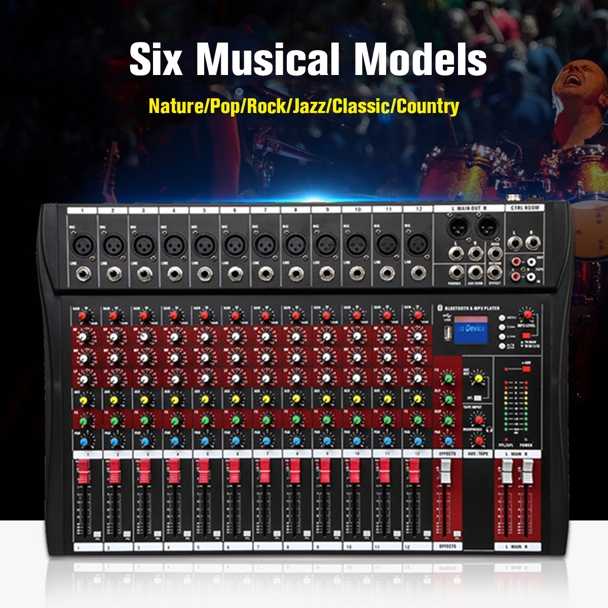 Table de mixage Audio 48V avec USB professionnel 12 canaux bluetooth Studio DJ Console de mixage karaoké amplificateur numérique KTV table de mixage