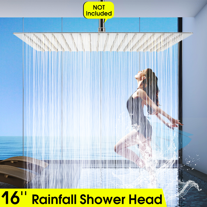 16Inch Square Ultra-thin Stainless Steel Rainfall Shower Head Bathroom Top Sprayer Faucet  Adjustable Chrome Polished Head16Inch Square Ultra-thin Stainless Steel Rainfall Shower Head Bathroom Top Sprayer Faucet  Adjustable Chrome Polished Head