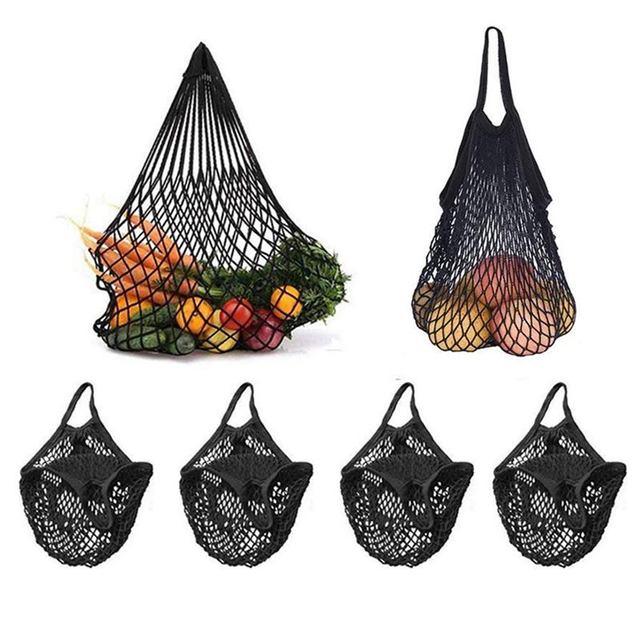 Mercado 4 Pack Reutilizáveis Malha Net Corda Saco Organizador (Multiuso, Portátil Bolsa Tote Da Compra) para as Compras De Supermercado & Out