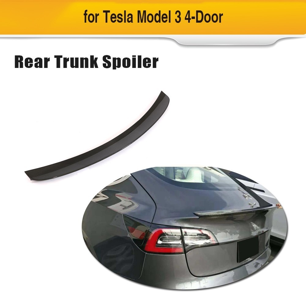 Carbon Fiber Car Rear Trunk Spoiler Wing Boot Lip For Tesla Model 3 2016 2017 2018 Car Sticker Spoiler
