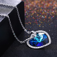 925 Sterling Silver necklace big blue crystal stone with white stones love heart pendant necklace for women fine jewelry