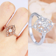 Rhombus Fashion Jewelry 2019 New Arrival 1PC Retro Flower Shape Ring Rose Golden Size6 7 8 9 10 Crystal Silver Baroque Style(China)