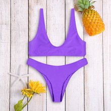 Women Sexy Swimwear High Cut Scoop Neck Bikini Set Wire Free Bralette Bathing Suit Low Waisted Swimsuit Beach Suit For Summer