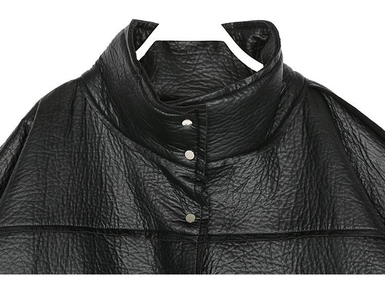 Long long Grande Lâche Noir Cuir Taille Polaire Et 1118 X Faux Hiver Pu Femmes Streetwear Col Roulé Veste Tranchée Épais Manteau wqxg7Zx