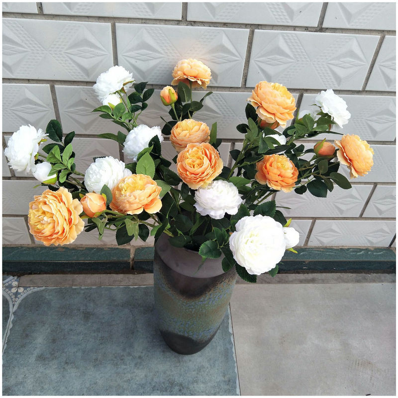 Manufacturer Spot Artificial Flowers Three Peony Wedding Office Ornaments Artificial Flowers Pot Simulation Plants Plant Bouquet in Artificial Plants from Home Garden