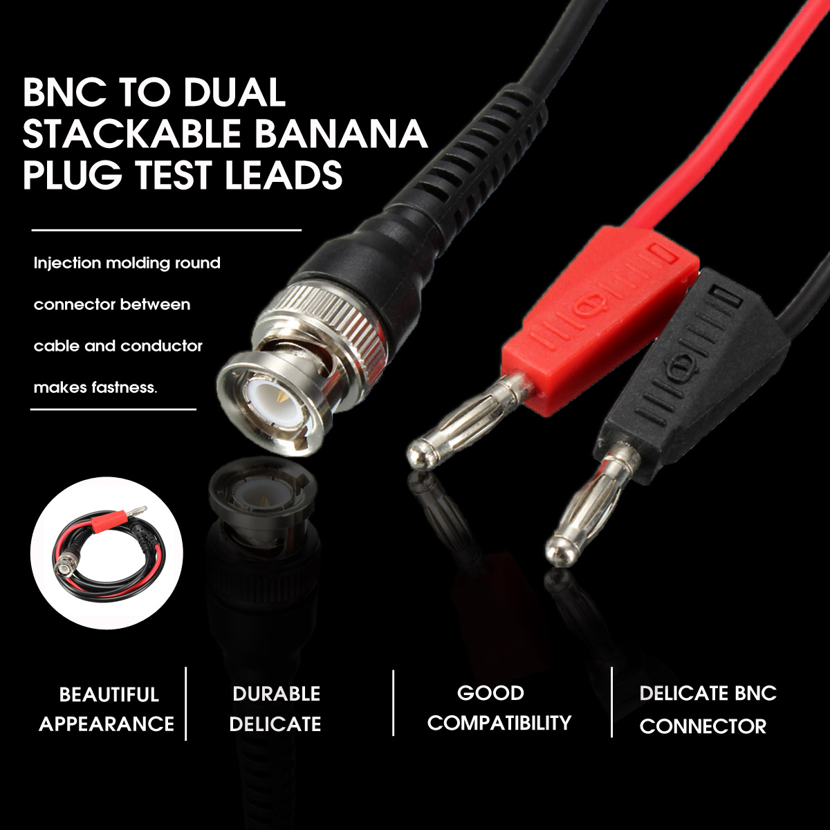 New Arrival Black + Red BNC Q9 to Dual 4mm Stackable Banana Plug with Socket Test Leads Probe Cable 120CM