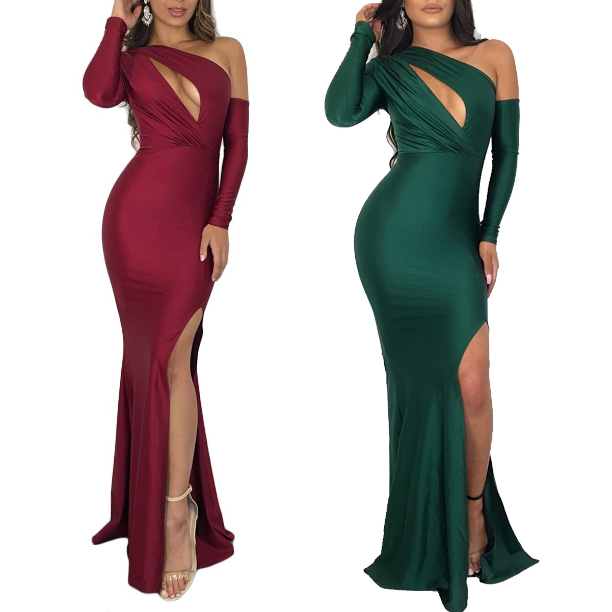 2018 Summer New Women's  Dresses Sexy crotch Off Shoulder long Sleeve Party Dress Pure Color Dovetail Dress Vestidos