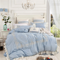 4/6/7Pcs Luxury Egypt Cotton Princess Diaries Bedding Set Embroidery Ruffles Duvet cover set Bed Sheet Pillowcases Queen King31