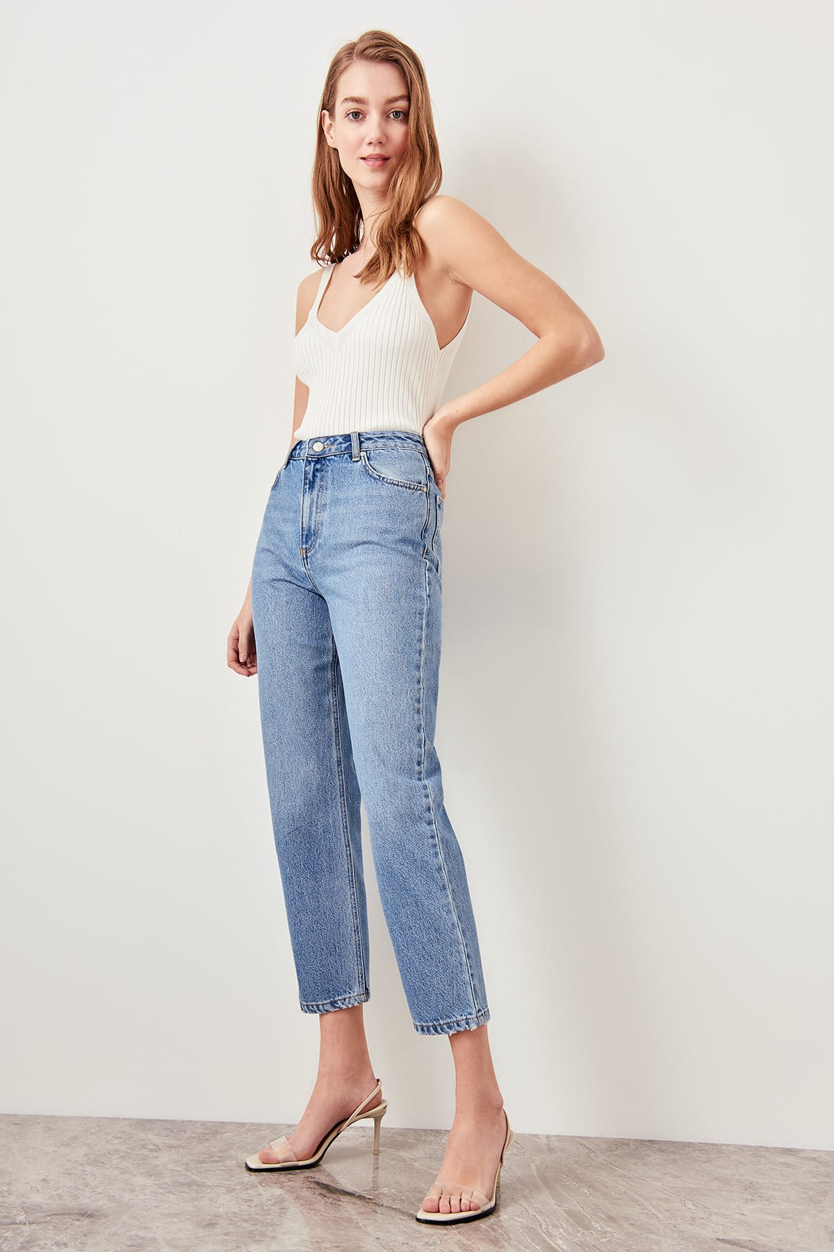 Trendyol Blue Black High Waist Boyfriend Jeans Straight-leg Casual Denim Ankle-length Pant TWOSS19LR0176