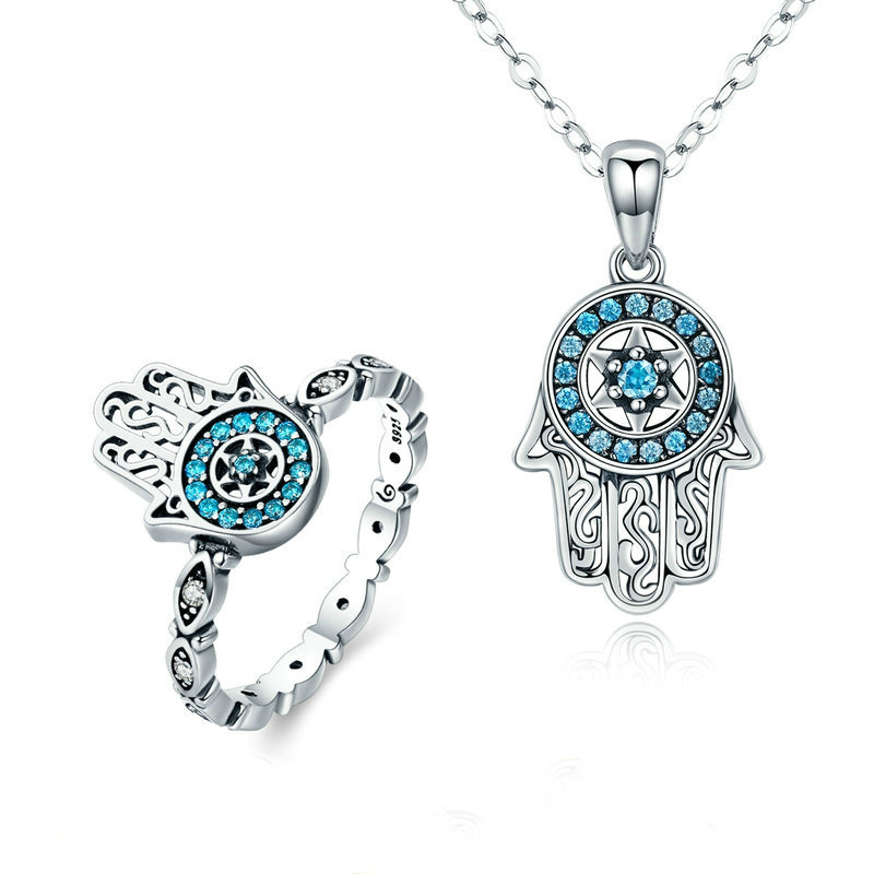 Classic 100% 925 Sterling Silver Fatima Hamsa Hand Lucky Necklace Women Rings Jewelry Sets Sterling Silver Jewelry Zhs091