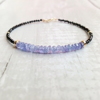 LiiJi Tanzanites Black Spinels Bracelet Natural Stone 925 Sterling Silver Gold Color Sparkling Delicate Jewelry Dropshipping