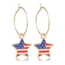 купить New Women USA Flag Trendy Earrings Star Shaped Design Drop Earrings Female Fashion Women Drop Earings Wedding Star Earrings по цене 34.32 рублей