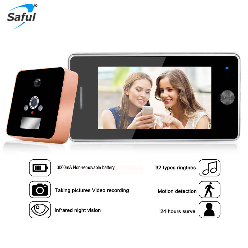 Saful 3000mAh No Disturbing Door Peephole Camera 32 Rings Door Camera Motion Detect Video Recording IR Video Peephole ViewerSaful 3000mAh No Disturbing Door Peephole Camera 32 Rings Door Camera Motion Detect Video Recording IR Video Peephole Viewer