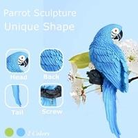 Garden Decoration Simulation Parrot Fairy Garden Miniature Sculpture Resin Crafts Outdoor Animal Decoration Wedding prop Gift