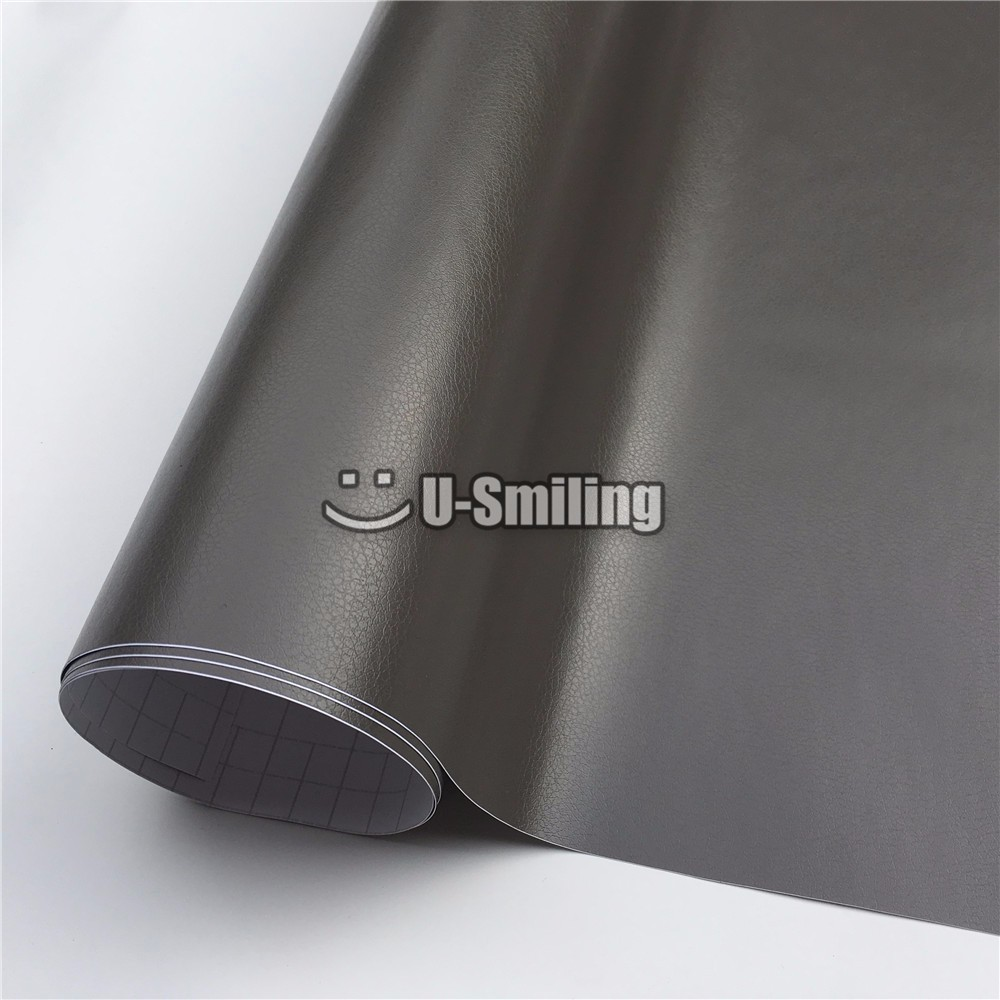 Premium Grey Leather Self Adhesive Vinyl Wrap Film Stickers For Auto Car Body Film Car Wrapping Foil Bike Console Computer Skin