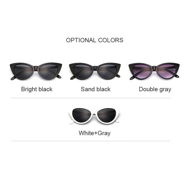 New Retro Sexy Mirror Sunglasses Women Brand Designer Luxury Vintage Cat Eye Black Sun Glasses Ladies Female UV400 Oculos