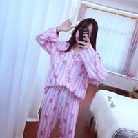 Korean Style Cute Cartoon Pajamas for women harajuku sleep Suits kawaii Long Sleeve Shirts Fashion Bedgown for female
