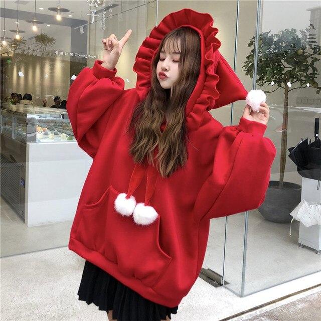 Kawaii Wishing Pointed Pom Poms Hooded Sweatshirts Cute Girls Women Loose Bow Ruffle Hoodies 2019 Autumn Tops Female Clothes