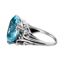 Topaz Heart Shaped Aquamarine Jewelry Wedding Ring,(China)