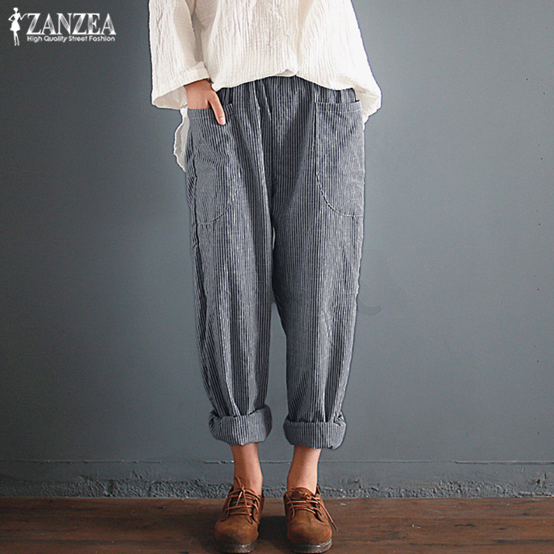 Women's Casual Trousers Striped Harem   Pants   ZANZEA 2019 Autumn Elastic Waist Long   Pants   Female Baggy Pantalon Palazzo Plus Size