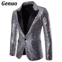 Mens Shiny Gold Sequin Glitter Blazer Jacket Men Nightclub Prom One Button Suit Blazer Men DJ Stage Singer Blazers Costume Homme