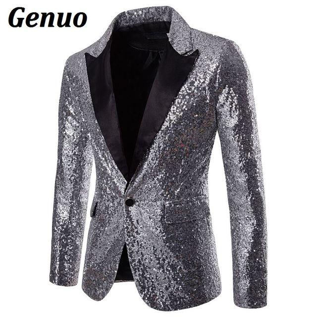 Mens Shiny Gold Sequin Glitter Blazer Jacket Men Nightclub Prom One Button  Suit Blazer Men DJ 2119644256ca